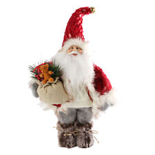 Christmas 40cm Rustic Standing Santa with Sack and Lamp Decoration