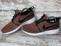 Nike Roshe One Flyknit Running Shoes Orange Purple 704927-008 Womens Size 8