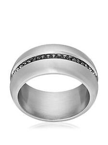 Swarovski Men's Ring Drew Stainless Steel Grey Swarovski Crystals size 68 New