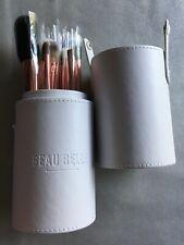 BEAU BELLE 10pc RoseGold make-up brushes+faux leather pot pro lux vegan Ltd Ed