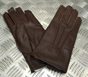 Genuine Military Issue Officers Brown Leather Soft Lined 3 Dart Parade Gloves