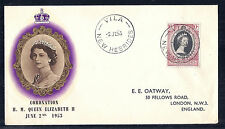 June 2 1953 New Hebrides to England FDC QEII Queen Elizabeth 2 Coronation SC 77*