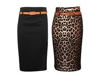 New Ladies Womens Plain & Animal Print Pencil Office Skirt With Belt Sizes S-XXL