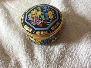 Vintage Crummles Fruits Enamel hinged lidded trinket pot.