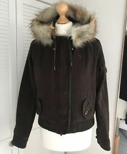 Abercrombie Fitch Bomber Jacket Size Small S Brown Hooded Coat Faux Fur Lined