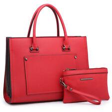 Women Large Briefcase Satchel Bag Edge Designer FanFold w/ Matching Wallet Purse