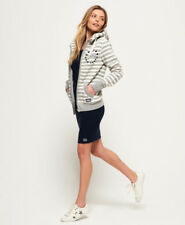 Neuer Damen Superdry Kapuzenjacke mit Applikation Pacific Grau Meliert Stripe