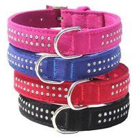 Great Quality Stylish DIAMANTE & VELVET Dog Puppy Pet Collar Pink Blue Red Black
