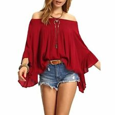 Women's Off the Shoulder Bell Ruffle Sleeve Top Blouse - Red One Size