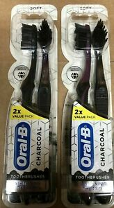 4 Oral-B Charcoal Toothbrush Whitening Therapy Soft New 2 TWIN PACKS NEW SEALED