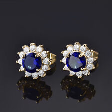 Retro Yellow Gold Filled Sunflower Sun Sapphire Blue Gemstone Lady Stud Earrings