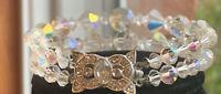"Vintage 2 Strand Aurora Borealis Crystal Bracelet Art Deco Rhinestone Clasp 7.5"""