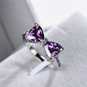 Exquisite Bow Amethyst Crystal 925 Rings Women Wedding Engagement Gift SZ6-10