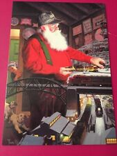 Leanin' Tree Christmas Card -  Santa & Model Trains Theme - Inventory #784