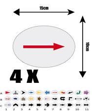 4X autocollant Oval  15cm avec impression  FLECHE REF A7 flèche DIRECTION