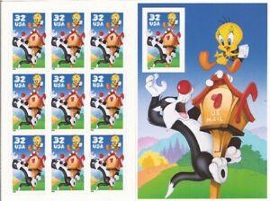 US Stamp Sylvester & Tweety Pane of 10 Stamps w/ Die Cuts and Imprf stamp #3205