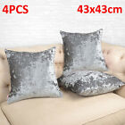 Set Of 4 Luxury Crushed Velvet Cushion Covers Case Plush Bed Sofa Cushions Cover
