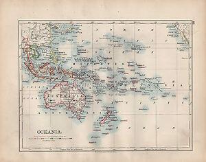1902 MAP ~ OCEANIA ~ FOREIGN POSSESSIONS AUSTRALIA NEW ZEALAND POLYNESIA BORNEO