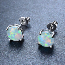 Opal Stud Earrings Sterling Silver Bohemian Jewelry Gift 7.4mm x 7.4mm