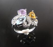 Prachtvoller Silber Ring mit  Amethyst,Citrin &Topas