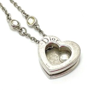 CHRISTIAN DIOR Heart four leaves Ring Double Chain Necklace Rhinestone Silver