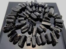 "Natural Black Tourmaline Rough Freeform Points Sticks Gemstone Beads Std 16"""