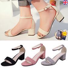 Womens Sandals Low Mid Heel Block Peep Toe Ladies Ankle Strap Strappy Sandals UK