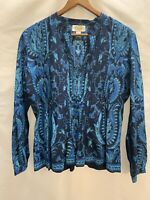 Talbots Sz S Blue Paisley Pintuck Sequined Cotton Popover Boho Blouse Shirt Top