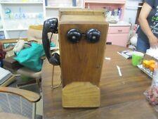 Antique STROMBERG-CARLSON Telephone Crank Hand Set Wall Phone oak box phone