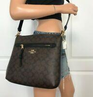 Coach Signature Brown Black File Crossbody Handbag Bag Authentic New $328