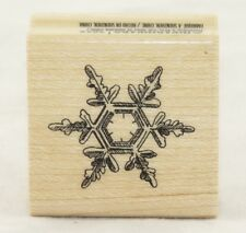 Snowflake Hexagram Wood Mounted Rubber Stamp Inkadinkado NEW winter christmas