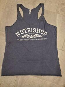 Women's Nutrishop Body Building workout RacerbackTank Top size XL BLUE