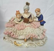 Antique Dresden Lace Woman Children Book Sofa Porcelain Group Figurine Germany