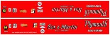 Sox & Martin Plymouth Road Runner DRAG NHRA 1/64th HO Scale Slot Car Decals