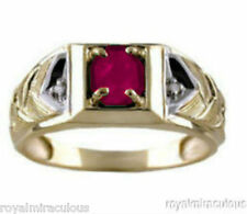 Mens Ruby & Diamond Ring 14K Yellow Gold