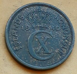 1940 2 Aurar Iceland Coin