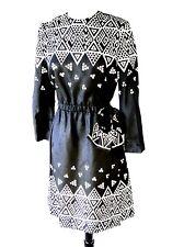 Deadstock New Abe Schrader Navy White Geometric Print Knee-Length Silk Dress 12