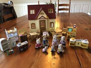 HUGE Calico Critters Lot House Furniture Pets Accessories
