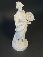 🚶 statuette figurine en biscuit Sevres femme tenant une coupe de fruits