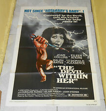 original THE DEVIL WITHIN HER one-sheet poster Joan Collins Donald Pleasence