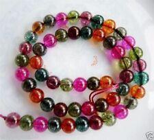 "Natural 8mm Multicolored Round Tourmaline Gemstone Loose Beads 15"""