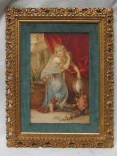 """17"""" Antique Young WOMAN Painting Porcelain Plaque PORTRAIT Signed H. Commans"""