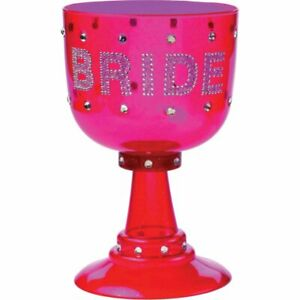 Large Bride To Be Cup Goblet Plastic Wine Glass Hens Night Party Gift Present