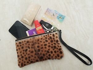 HANDMADE genuine Fur hair on hide leather clutch pouch purse for women
