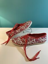 Red Floral Vintage Keds Tennis Shoes Womens Size 6.5 Flowers Retro Low
