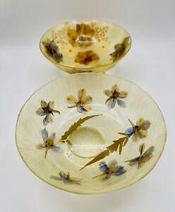 "2 Vintage Pressed Flowers Resin Pedestal Bowls 5.75"""