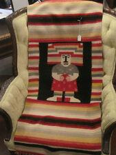 OLD Vintage wool Handwoven Native NAVAJO OR MEXICAN RUG, figure, blanket
