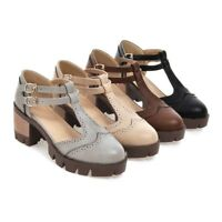Womens Ladies Flat Low Heel T-bar Buckle Chunky School Work Shoes Pumps Size New