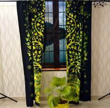 Cotton Green Color Elephant Tree Wall Hanging Door Window Curtain Tapestry Art