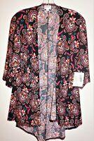 NWT LULAROE Women's Sz Small LINDSAY Open Cardigan Kimono Black Floral Paisley